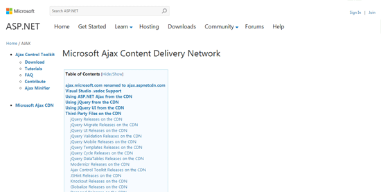Microsoft Ajax Content Delivery Network